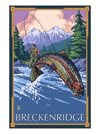 Breckenridge, Colorado - Fisherman, c.2008-Lantern Press-Art Print
