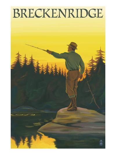 Breckenridge, Colorado - Fisherman Casting, c.2008-Lantern Press-Art Print