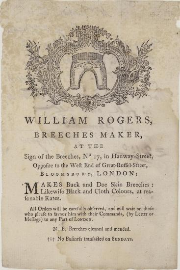 Breeches Makers, William Rogers, Trade Card--Giclee Print