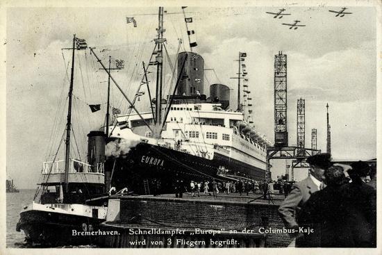 Bremerhaven, Norddeutscher Lloyd, Dampfer Europa--Giclee Print