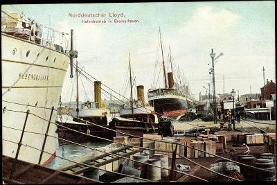 Bremerhaven, Norddeutscher Lloyd, Hafenbetrieb, Schiffe--Giclee Print
