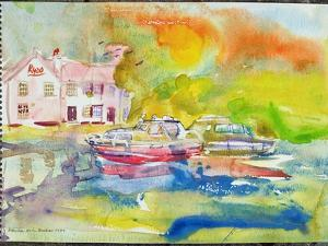 Riverside Pub with Boats by Brenda Brin Booker