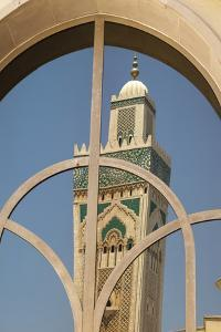 Africa, Morocco, Casablanca. the Minaret of Hassan Ii Mosque Is Reflected in a Window by Brenda Tharp