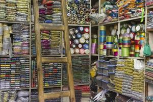 Africa, Morocco, Fes. a Sewing and Notions Shop in the Medina by Brenda Tharp