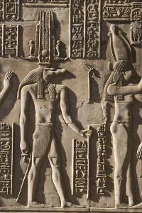 Egypt, Pom Ombo. Hieroglyphics on the walls of Pom Ombo temple. by Brenda Tharp