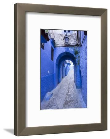 Morocco. A blue alley in the hill town of Chefchaouen.