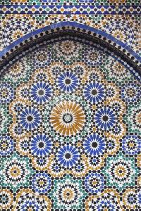 Morocco, Fes. A detail of a mosaic tiled fountain. by Brenda Tharp