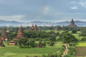 Myanmar, Bagan. Stupas Dot the Plains of Bagan by Brenda Tharp