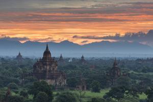 Myanmar, Bagan. Sunrise over Stupas on the Plains of Bagan by Brenda Tharp