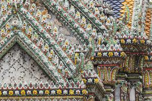 Thailand, Bangkok, Grand Palace. Ornate details of a temple in the compound. by Brenda Tharp