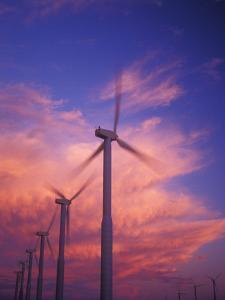 Fiery Cloud at Sunset with Power Generating Windmills, Walla Walla County, WA USA by Brent Bergherm