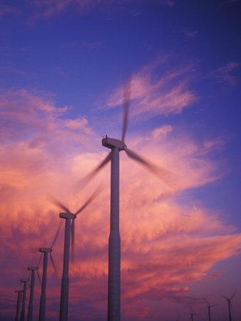 Fiery Cloud at Sunset with Power Generating Windmills, Walla Walla County, WA USA