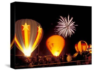 Fireworks During Night Glow Event, 30th Annual Walla Walla Hot Air Balloon Stampede, Washington