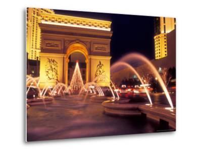 Paris Hotel and Casino Fountains in Front of L'Arc de Triumph Replica, Las Vegas, Nevada, USA