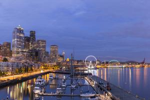 USA, Washington, Seattle. Night Time Skyline from Pier 66 by Brent Bergherm