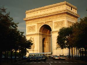 Arc De Triomphe at Dusk, Paris, France by Brent Winebrenner
