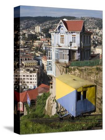 Ascensor Artilleria with City Buildings Beyond, Valparaiso, Valparaiso, Chile