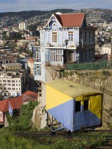 Ascensor Artilleria with City Buildings Beyond, Valparaiso, Valparaiso, Chile by Brent Winebrenner