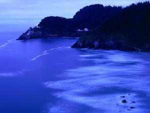 Bay with Heceta Head Lighthouse and Light Keepers House, Yachats, USA by Brent Winebrenner