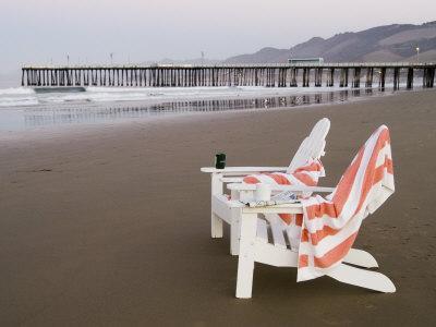 Beach Chairs and Pier at Sunrise, Pismo Beach, California