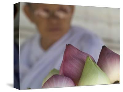 Buddhist Nun Selling Lotus Blossoms, Wat Chana Songkhram