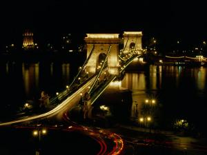 Chain Bridge Over the Danube River, Budapest, Hungary by Brent Winebrenner