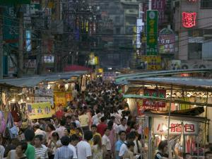 Crowded Night Market, Keelung, Taipei, Taiwan by Brent Winebrenner