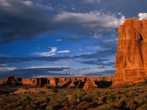 """Entrada"" Sandstone Cliffs and Desert Landscape, Arches National Park, USA by Brent Winebrenner"