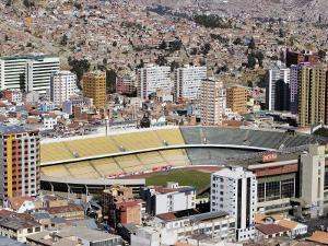 Estado Hernando Siles Surrounded by High-Rise Buildings, La Paz, Bolivia by Brent Winebrenner
