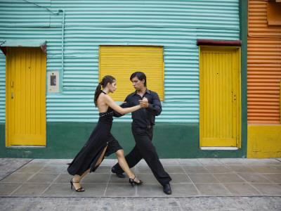 Pair of Tango Dancers Performing on Streets of La Boca