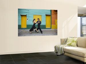 Pair of Tango Dancers Performing on Streets of La Boca by Brent Winebrenner