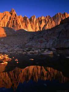 Rocky Crags in the Sierra Nevada Mountain Range and Small Lake, Inyo National Forest, USA by Brent Winebrenner