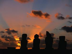 Sunset Over Ahu Vai Uri at the Tahai Ceremonial Complex, Hanga Roa, Chile by Brent Winebrenner