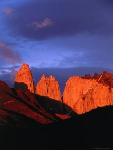 The Towers of Paine in Sunlight, Torres Del Paine National Park, Chile by Brent Winebrenner