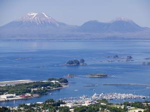 Town with Mt. Edgecumbe in Background, Sitka, Alaska by Brent Winebrenner