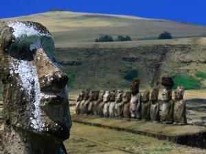 Traditional Carved Moai at Ahu Tongariki, Ahu Tongariki, Valparaiso, Chile by Brent Winebrenner