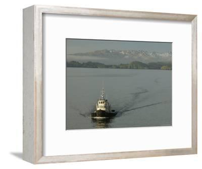 Tugboat on Sound with Mountains in Background, Sitka, Alaska