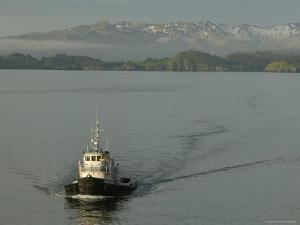Tugboat on Sound with Mountains in Background, Sitka, Alaska by Brent Winebrenner