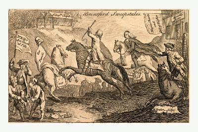 Brentford Sweepstakes. All Coursers the First Heat with Vigour Run. But 'Tis with Whip and Spur the--Giclee Print