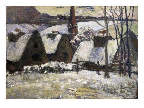 Breton Village in Snow-Paul Gauguin-Art Print