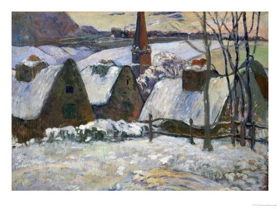 Breton Village Under Snow, 1894-Paul Gauguin-Giclee Print