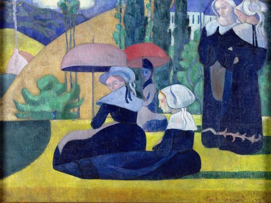 Breton Women in the Shade, 1892-Emile Bernard-Giclee Print