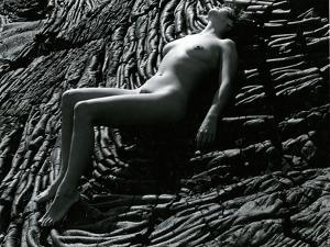 Classic Nude and Lava, Hawaii, c. 1980 by Brett Weston