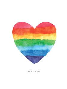 Love Wins Watercolor Rainbow Heart by Brett Wilson