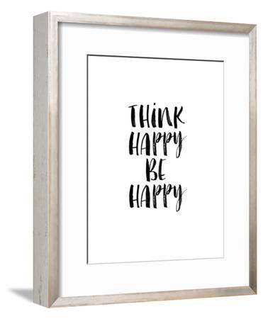 Think Happy Be Happy Watercolor WHT