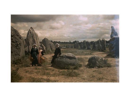 Bretton Women Sit Amongst the Megaliths of Carnac-Gervais Courtellemont-Photographic Print