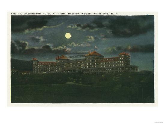 Bretton Woods, New Hampshire - Exterior View of Mt Washington Hotel at Night-Lantern Press-Art Print