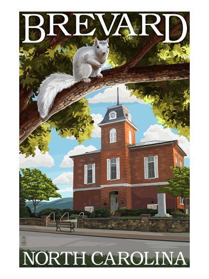 Brevard, North Carolina - Courthouse and White Squirrel-Lantern Press-Art Print