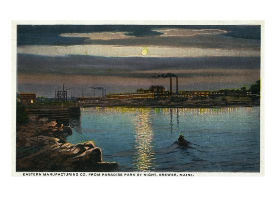 Brewer, Maine, Paradise Park View of Eastern Manufacturing Co. at Night-Lantern Press-Art Print