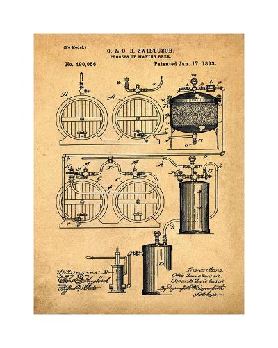 Brewery Patent 1891 Sepia-Bill Cannon-Giclee Print